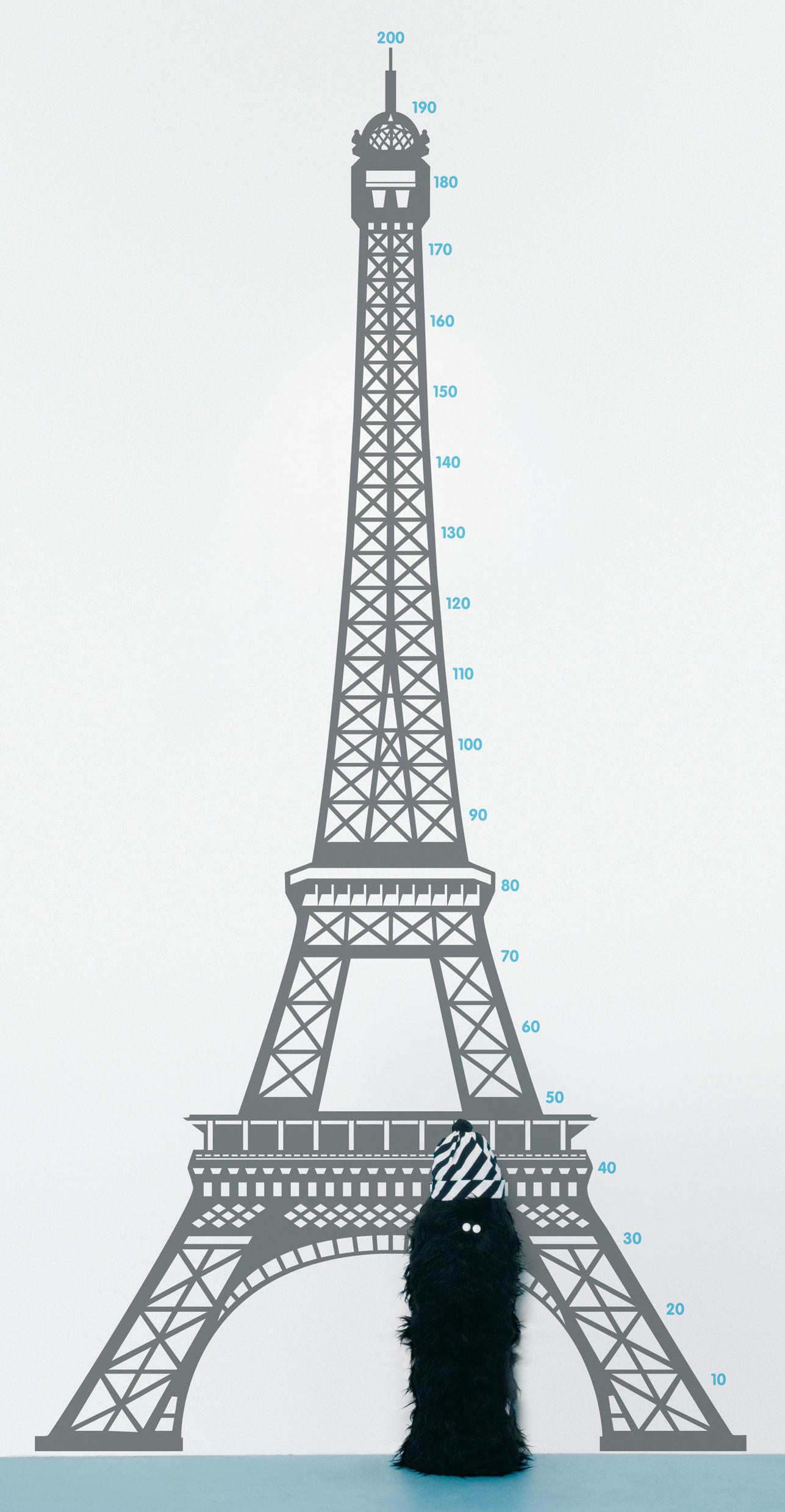 Interni - Per bambini - Sticker Measuring souvenir from Paris - Metro di Domestic - Paris / Gris - Vinile