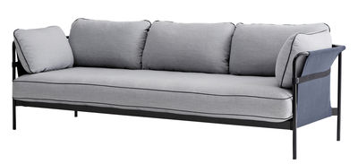 Furniture - Sofas - Can Straight sofa - 3 seaters / L 247 cm by Hay - Light grey / Black structure/ Blue sides - Fabric, Foam, Metal