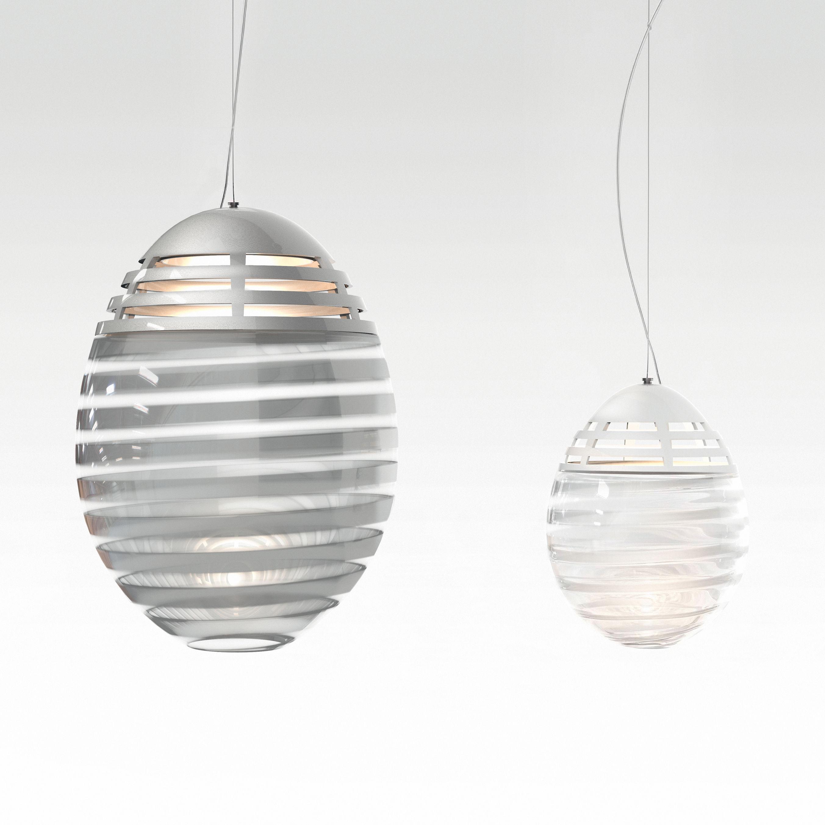 suspension incalmo led 39 x h53 cm verre souffl aluminium bandes blanches transparent. Black Bedroom Furniture Sets. Home Design Ideas