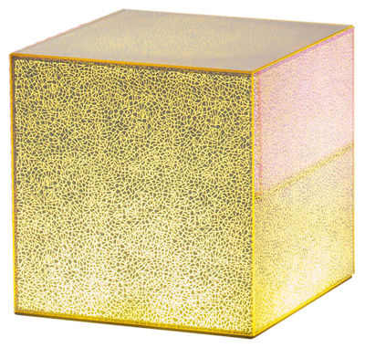 Table basse lumineuse Crack LED / 40 x 40 cm - Glas Italia jaune en verre