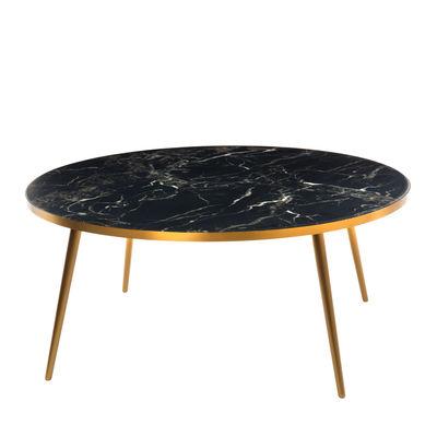 Table basse / Ø 80 x H 35 - Aspect marbre - Pols Potten noir en matière plastique/pierre