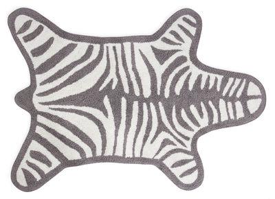 Tappeto sala da bagno Zebra - / Reversibile - 112 x 79 cm di Jonathan Adler - Bianco,Grigio chiaro - Tessuto