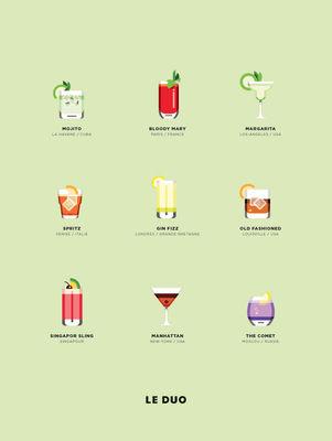 Affiche Le Duo - Cocktails / 40 x 50 cm - Image Republic multicolore en papier