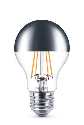 Ampoule LED E27 Sphérique filament Modern Standard / Calotte argentée - 5,5W (48W) - Philips argent,transparent en verre