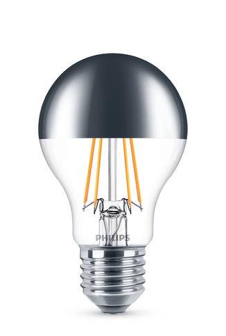 Luminaire - Ampoules et accessoires - Ampoule LED E27 Sphérique filament Modern Standard / Calotte argentée - 5,5W (48W) - Philips - 5,5W (48W) / Calotte argentée - Métal, Verre transparent