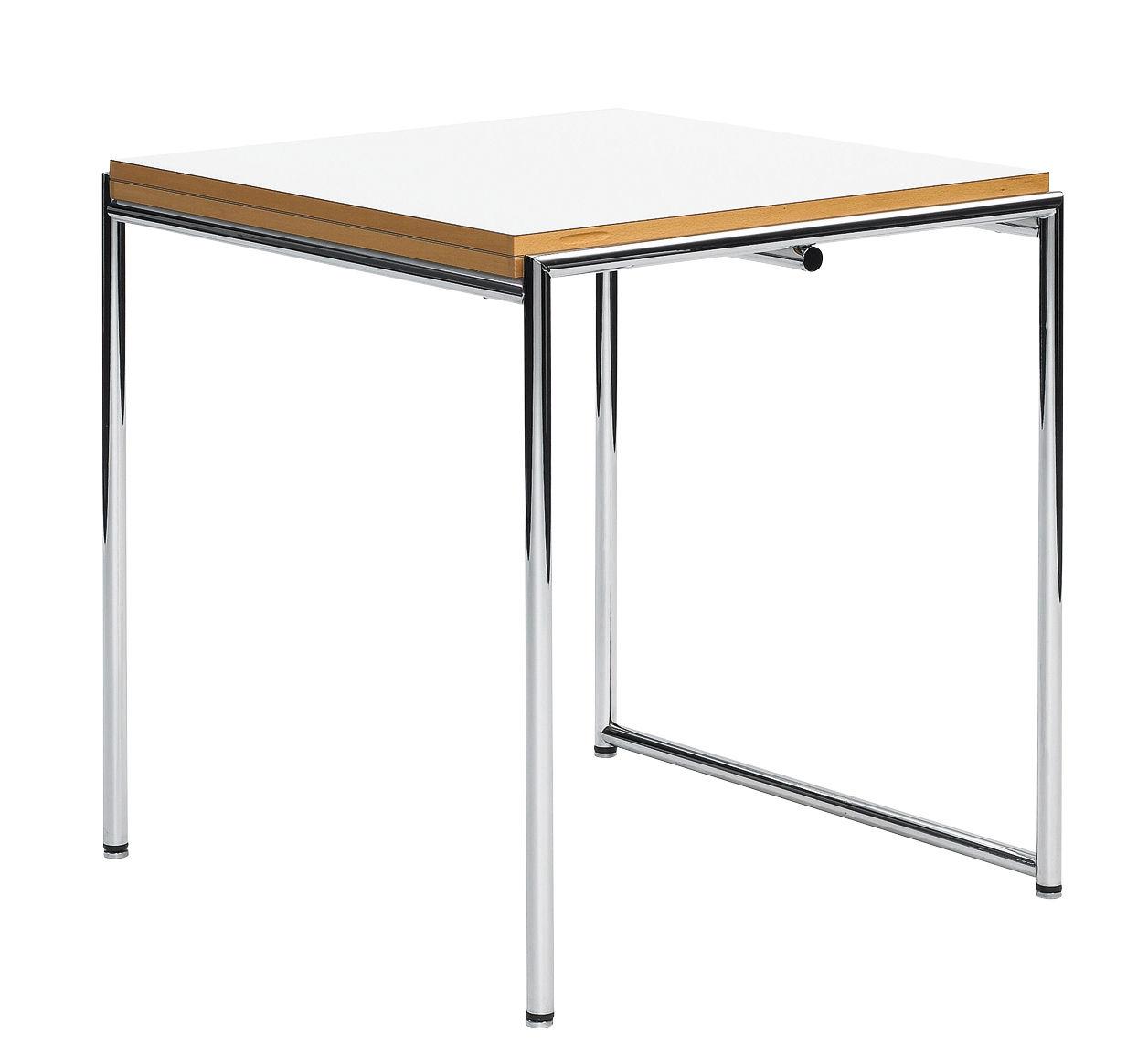Möbel - Tische - Jean Ausziehtisch / Neuauflage des Originals von 1929 - aufklappbar & verstellbare Füße - ClassiCon - Weiß & Buche / Stahl - Buchenfurnier, Melamin, verchromter Stahl