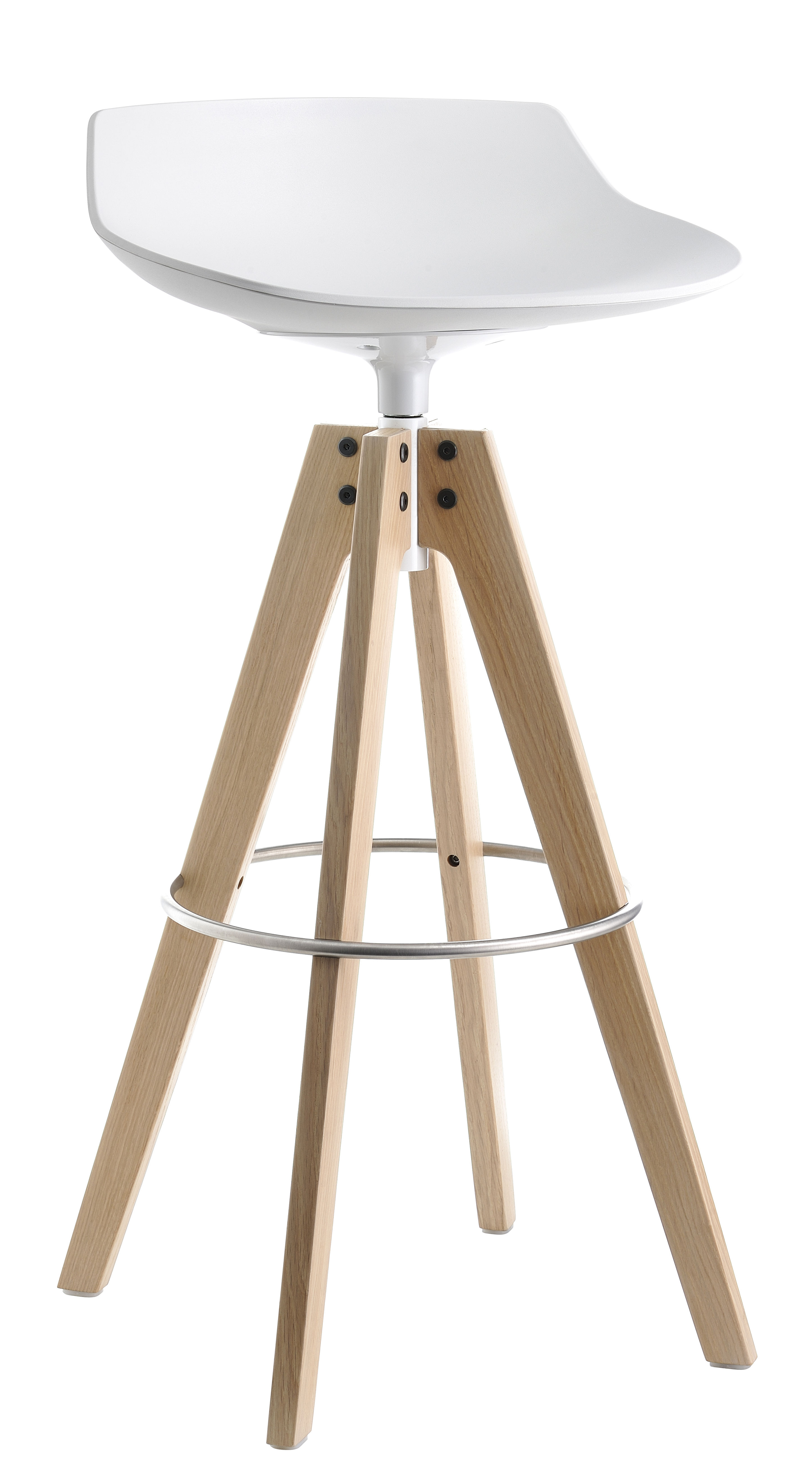 Möbel - Barhocker - Flow Barhocker / H 78 cm - Stuhlbeine Eiche - MDF Italia - Weiß / Stuhlbeine Eiche natur - gebürsteter rostfreier Stahl, massive Eiche, Polyurhethan