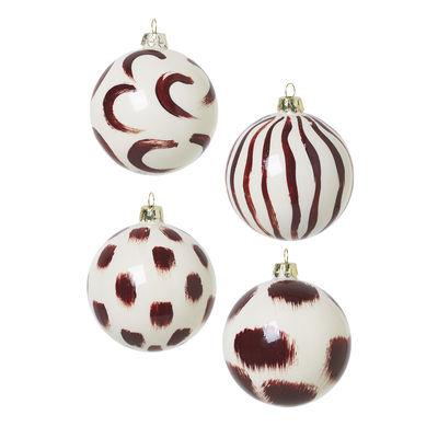 Boule de Noël / Set de 4 - Verre peint à la main - Ferm Living rouge foncé en verre