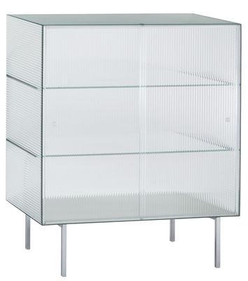 Mobilier - Commodes, buffets & armoires - Buffet Commodore haut / Verre rayé - L 100 x H 120 cm - Glas Italia - Translucide rayé / Pieds chromés - Métal chromé, Verre trempé