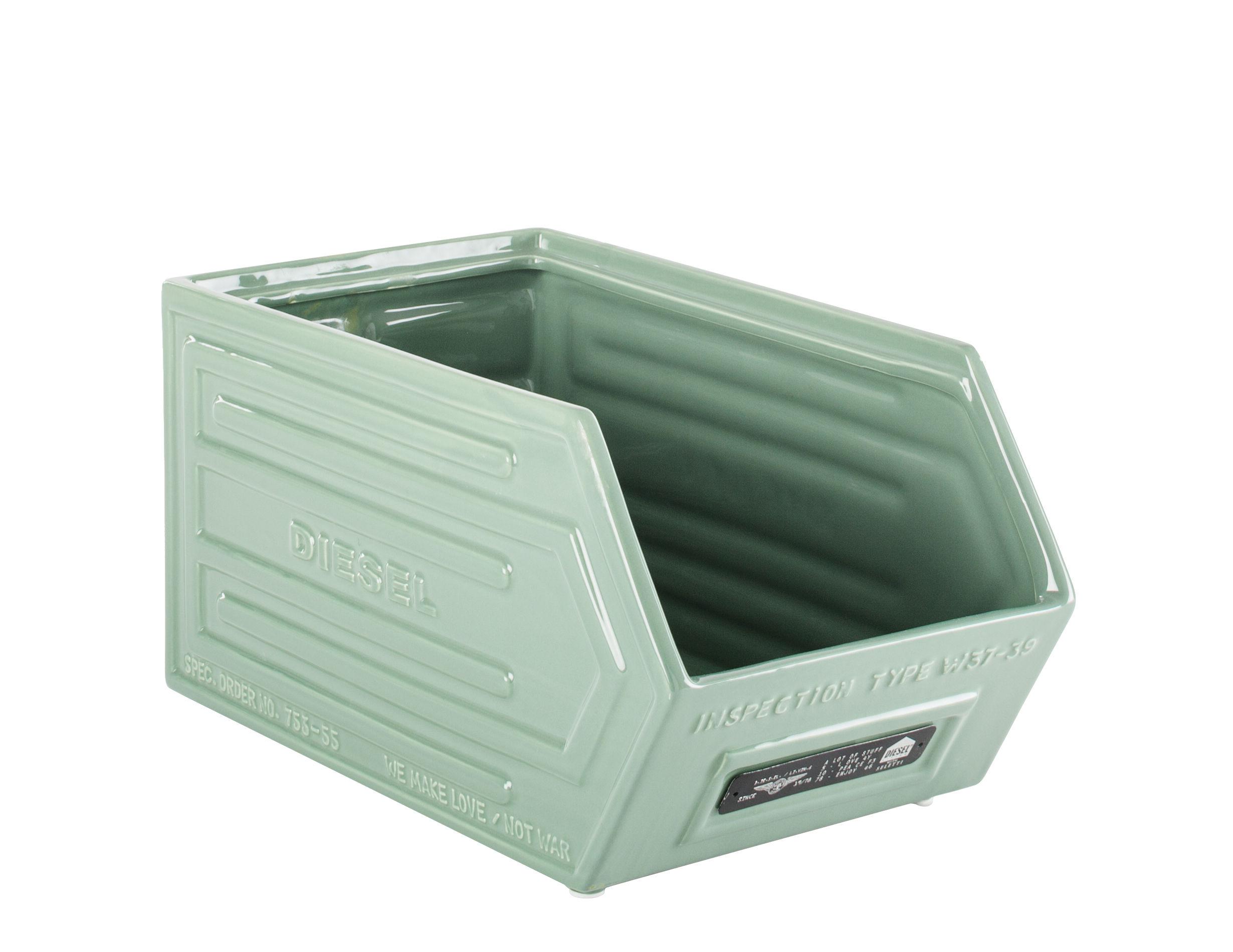Accessori moda - Accessori ufficio - Cassetto Crate - / Ceramica - L 33 x H 17 cm di Diesel living with Seletti - Verde - Ceramica