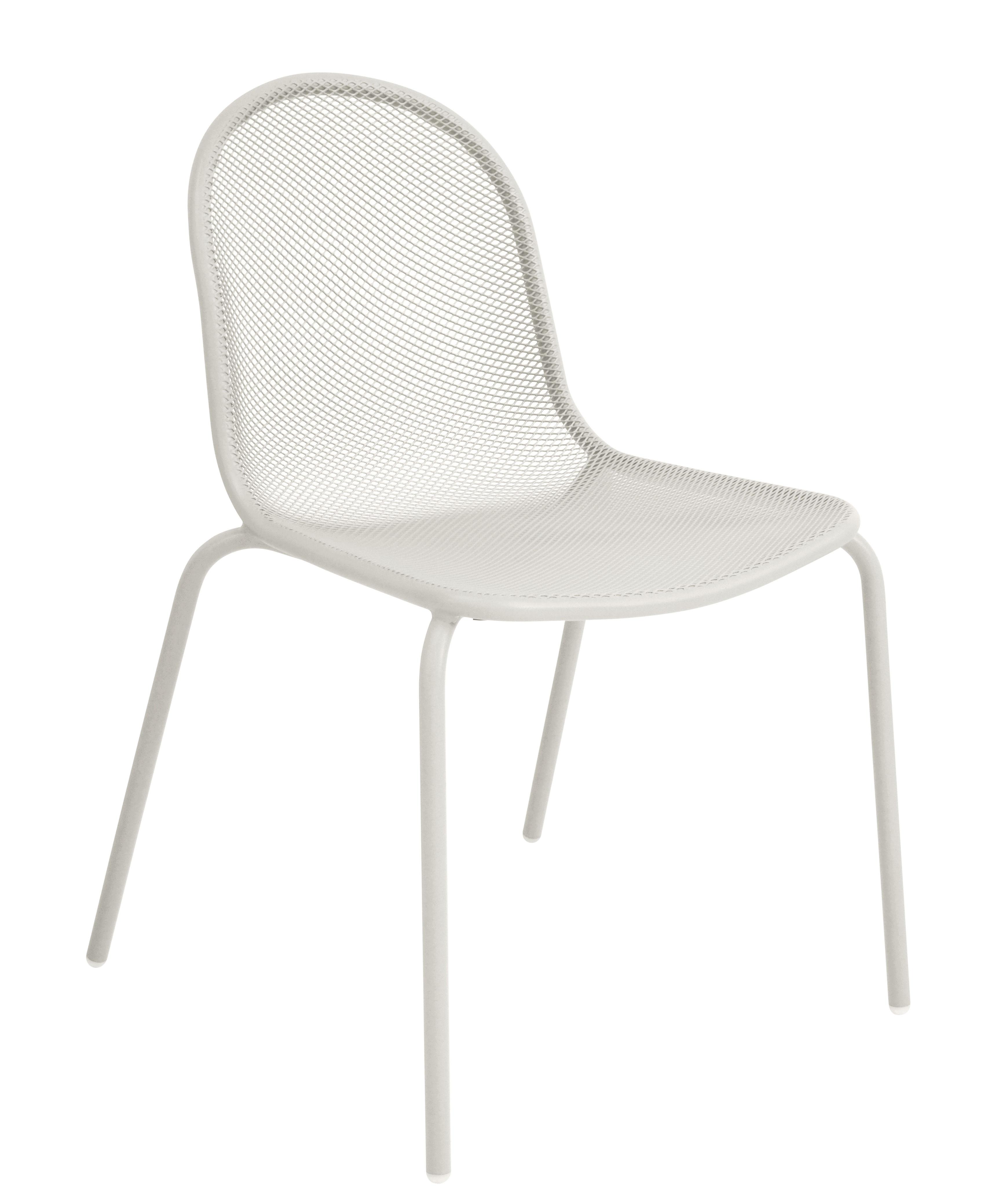 Mobilier - Chaises, fauteuils de salle à manger - Chaise empilable Nova / Métal - Emu - Blanc - Acier verni