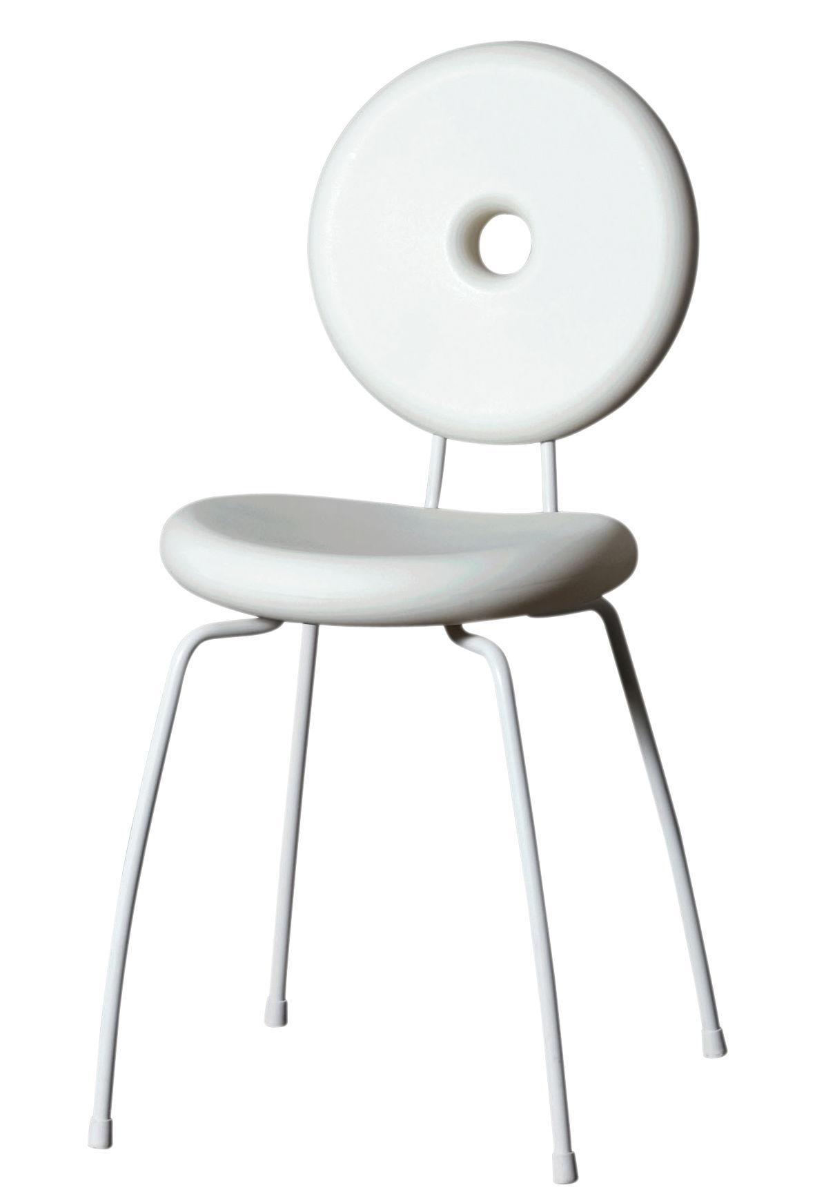 Mobilier - Chaises, fauteuils de salle à manger - Chaise empilable Ping Pong Pang / Plastique - Serralunga - Blanc - Acier peint, Polyéthylène rotomoulé