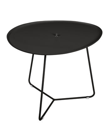 Furniture - Coffee Tables - Cocotte Coffee table - / L 55 x H 43.5 cm - Detachable table top by Fermob - Licorice - Painted steel