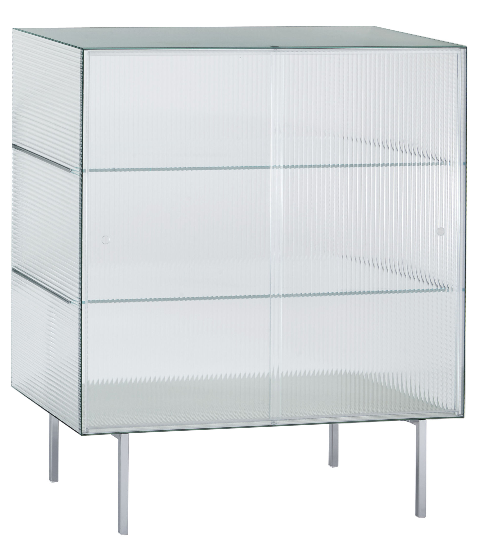 Furniture - Dressers & Storage Units - Commodore haut Dresser - Glass - 100 x 120 cm by Glas Italia - Transparent striped / Chromed legs - Chromed metal, Soak glass