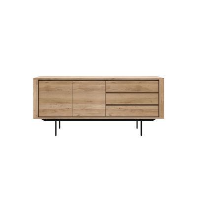 Furniture - Dressers & Storage Units - Shadow Dresser - / Solid oak L 180 cm / 2 doors & 3 drawers by Ethnicraft - Oak / Black legs - Solid oak, Varnished metal