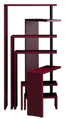 Möbel - Regale und Bücherregale - Joy Erweiterbares Bücherregal modular / 7 Regalbretter - H 190 cm - Zanotta - Bordeaux-rot - gefirnister Stahl, Holzfaserplatte