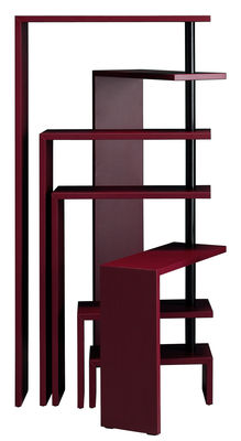 Furniture - Bookcases & Bookshelves - Joy Extensible Bookshelf - Modular / 7 shelves - H 190 cm by Zanotta - Burgundy red - MDF, Varnished steel