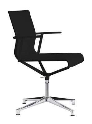 Fauteuil pivotant Stick Chair / Pied 4 branches - Assise cuir - ICF noir,métal brillant en cuir