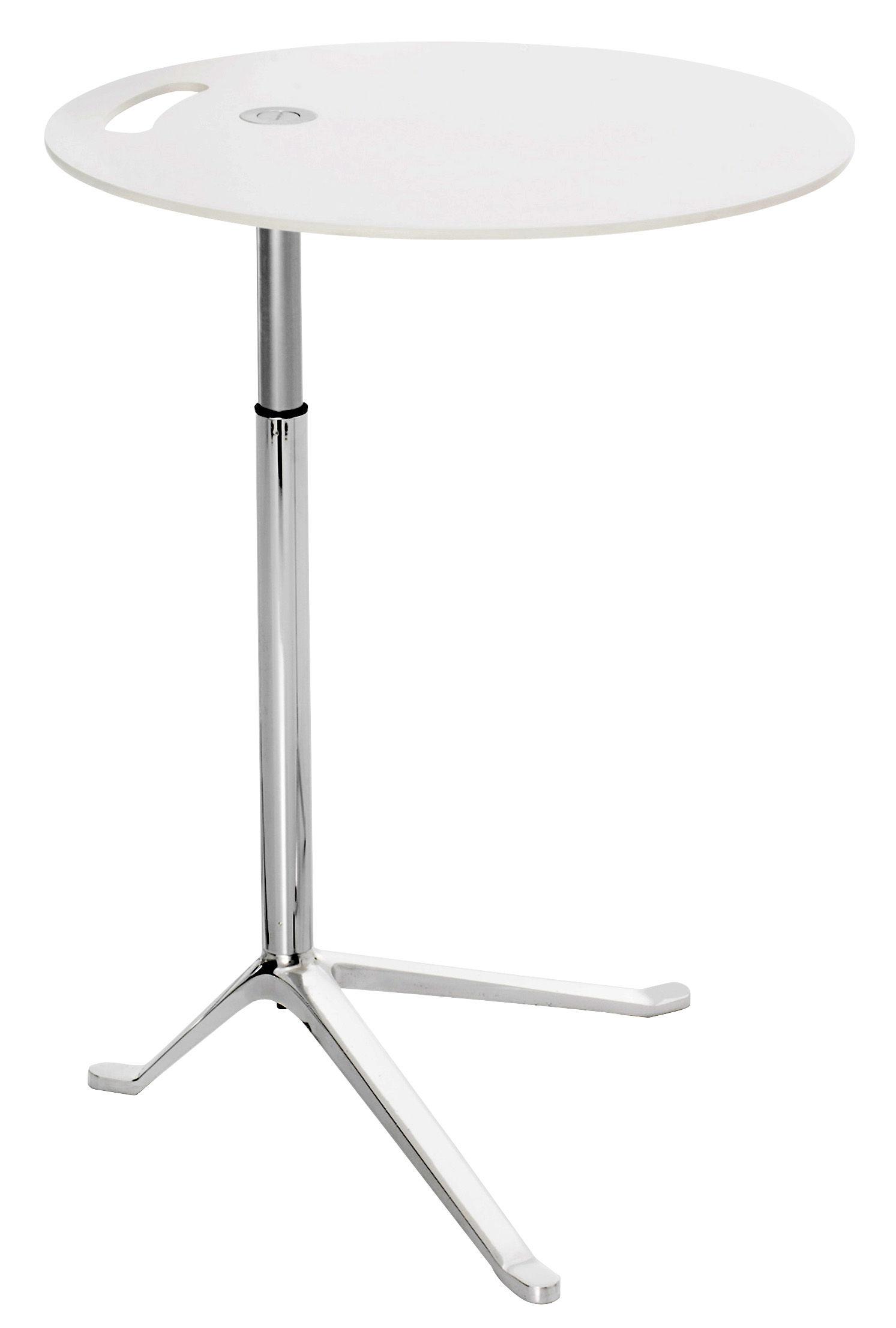 Mobilier - Tables basses - Guéridon Little Friend réglable en hauteur - H 50 /73 cm x Ø 45 cm - Fritz Hansen - Blanc - Aluminium poli, Laminé