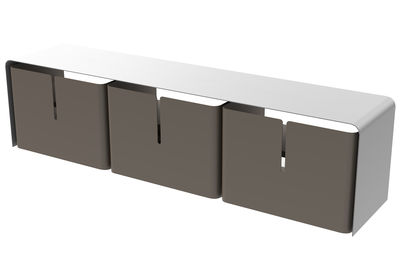 Meuble TV Barber / 3 tiroirs - L 160 cm - Matière Grise blanc,sable en métal