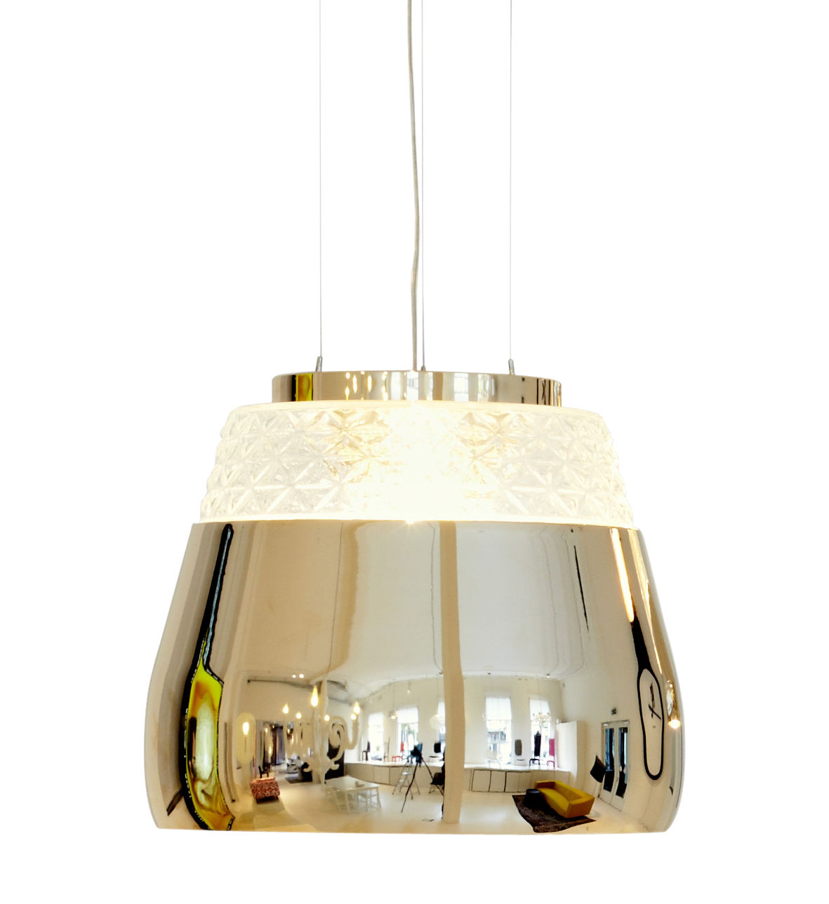 Lighting - Pendant Lighting - Valentine Baby Pendant - Ø 21 cm by Moooi - Gold / Gold inside - Blown glass, Lacquered metal