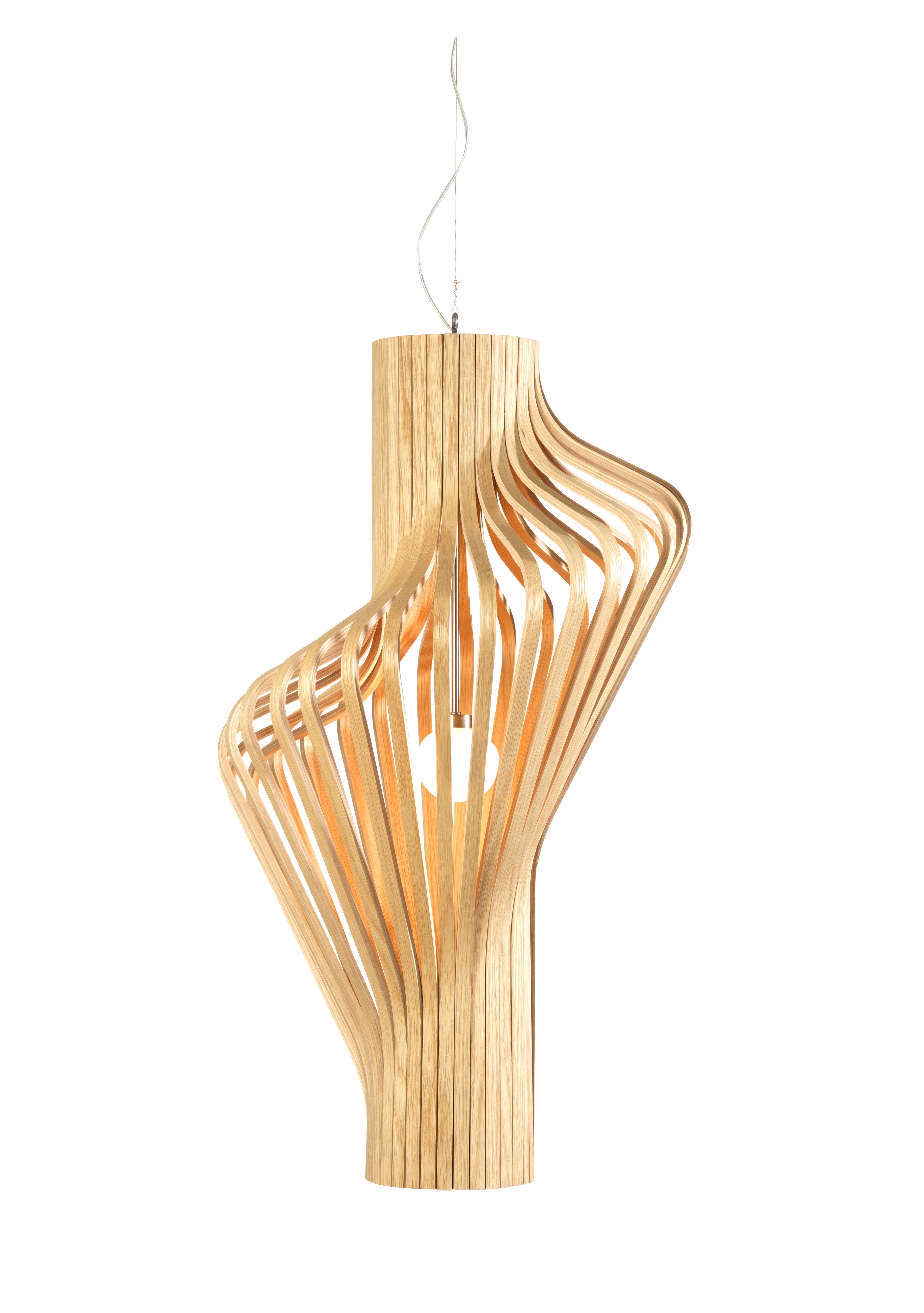 Leuchten - Pendelleuchten - Diva Pendelleuchte H 80 cm - Northern  - Eiche - Eichenholzfurnier, mundgeblasenes Glas