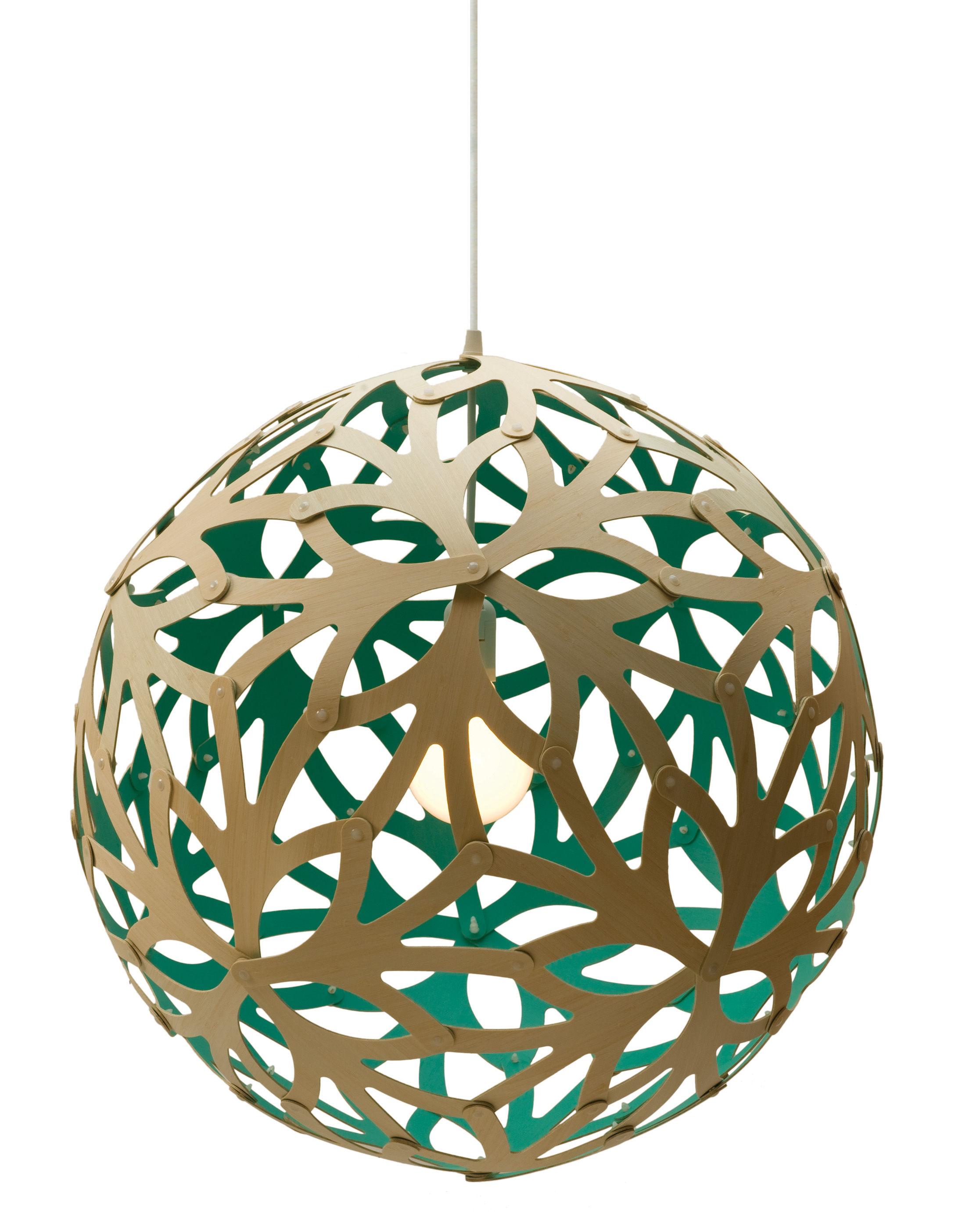 Leuchten - Pendelleuchten - Floral Pendelleuchte Ø 40 cm - zweifarbig - exklusiv - David Trubridge - Wassergrün / Naturholz - Bambus