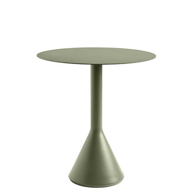 Outdoor - Garden Tables - Palissade Cone Round table - / Ø 70 - R. & E. Bouroullec by Hay - Olive green - Epoxy lacquered steel, Tinted concrete