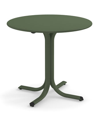Outdoor - Garden Tables - System Round table - / Ø 80 cm by Emu - Military green - Galvanised painted steel