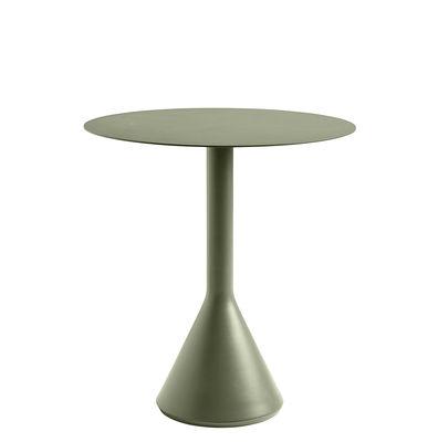 Outdoor - Tische - Palissade Cone Runder Tisch / Ø 70 - R & E Bouroullec - Hay - Olivgrün - Acier laqué époxy, Beton, lasiert