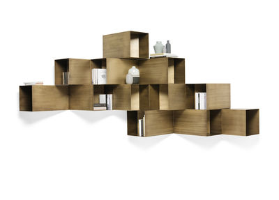 Furniture - Bookcases & Bookshelves - Cellula Shelf - / Metal - 12 units by Mogg - Patinated bronze - Painted metal