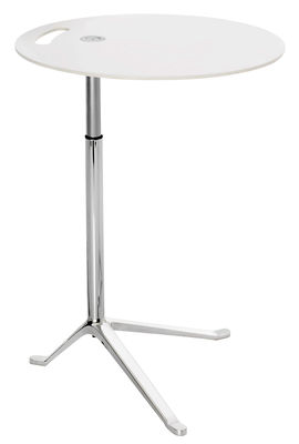Furniture - Coffee Tables - Little Friend Small table - Adjustable height - H 50 /73 cm x Ø 45 cm by Fritz Hansen - White - Laminate, Polished aluminium