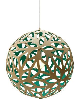 Illuminazione - Lampadari - Sospensione Floral - Ø 40 cm - Bicolore - Esclusiva di David Trubridge - Verde acqua / legno naturale - Bambù