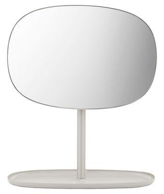 Accessori moda - Accessori bagno - Specchio da appoggiare Flip - / Svuotatasche di Normann Copenhagen - Sabbia - Acciaio laccato, Vetro