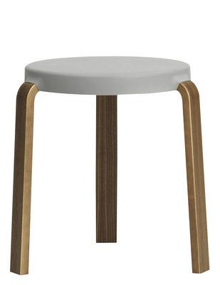 Furniture - Stools - Tap Stool Stackable stool - Walnut & foam by Normann Copenhagen - Grey / Walnut - Polyurethane foam, Walnut plywood
