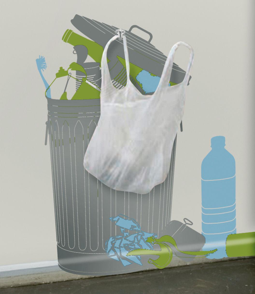 Dekoration - Spaßig und ausgefallen - Vynil+plastic bags Sticker - Domestic - Grau, grün und blau - Vinyl