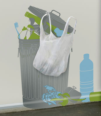 Decoration - Funny & surprising - Vynil+plastic bags Sticker by Domestic - Grey - green - blue - Vinal