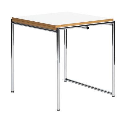 Mobilier - Tables - Table à rallonge Jean / Réédition 1929 - Rabattable & pieds réglables - ClassiCon - Blanc & Hêtre / Acier - Acier chromé, Hêtre, Mélamine