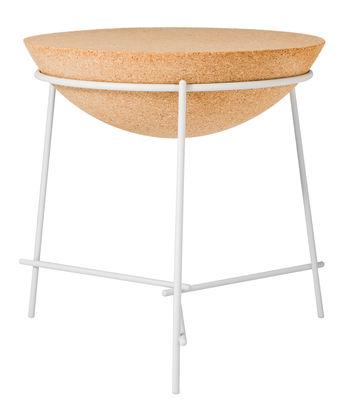 Mobilier - Tables basses - Table d'appoint Basil / Sphère - Petite Friture - Liège naturel / Structure blanche - Acier peint, Liège