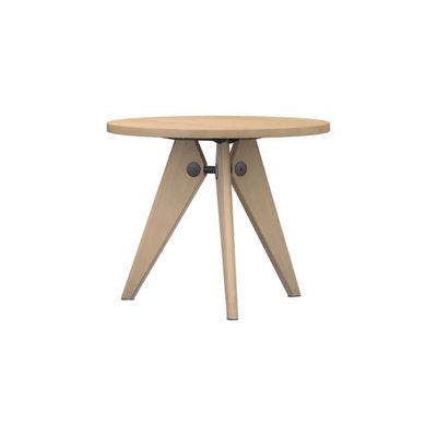 Mobilier - Tables - Table ronde Guéridon / Ø 90 x H 74 - By Jean Prouvé, 1949 - Vitra - Chêne naturel - Acier laqué époxy, Chêne massif
