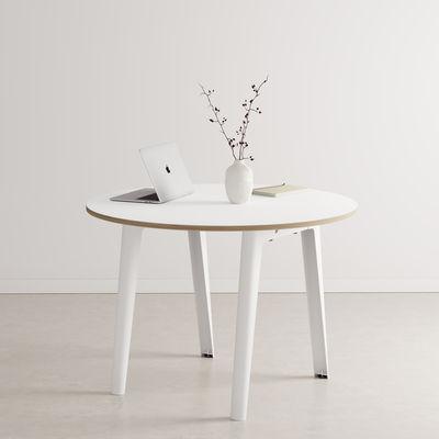 Table ronde New Modern / Ø 110 cm - Stratifié / 4 à 6 personnes - TIPTOE blanc en métal/bois