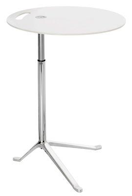 Arredamento - Tavolini  - Tavolino rotondo Little Friend - altezza regolabile - H 50 /73 cm x Ø 45 cm di Fritz Hansen - Bianco - Alluminio lucido, Laminato