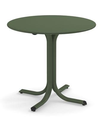 Outdoor - Tavoli  - Tavolo rotondo System - / Ø 80 cm di Emu - Verde militare - Acciaio galvanizzato verniciato
