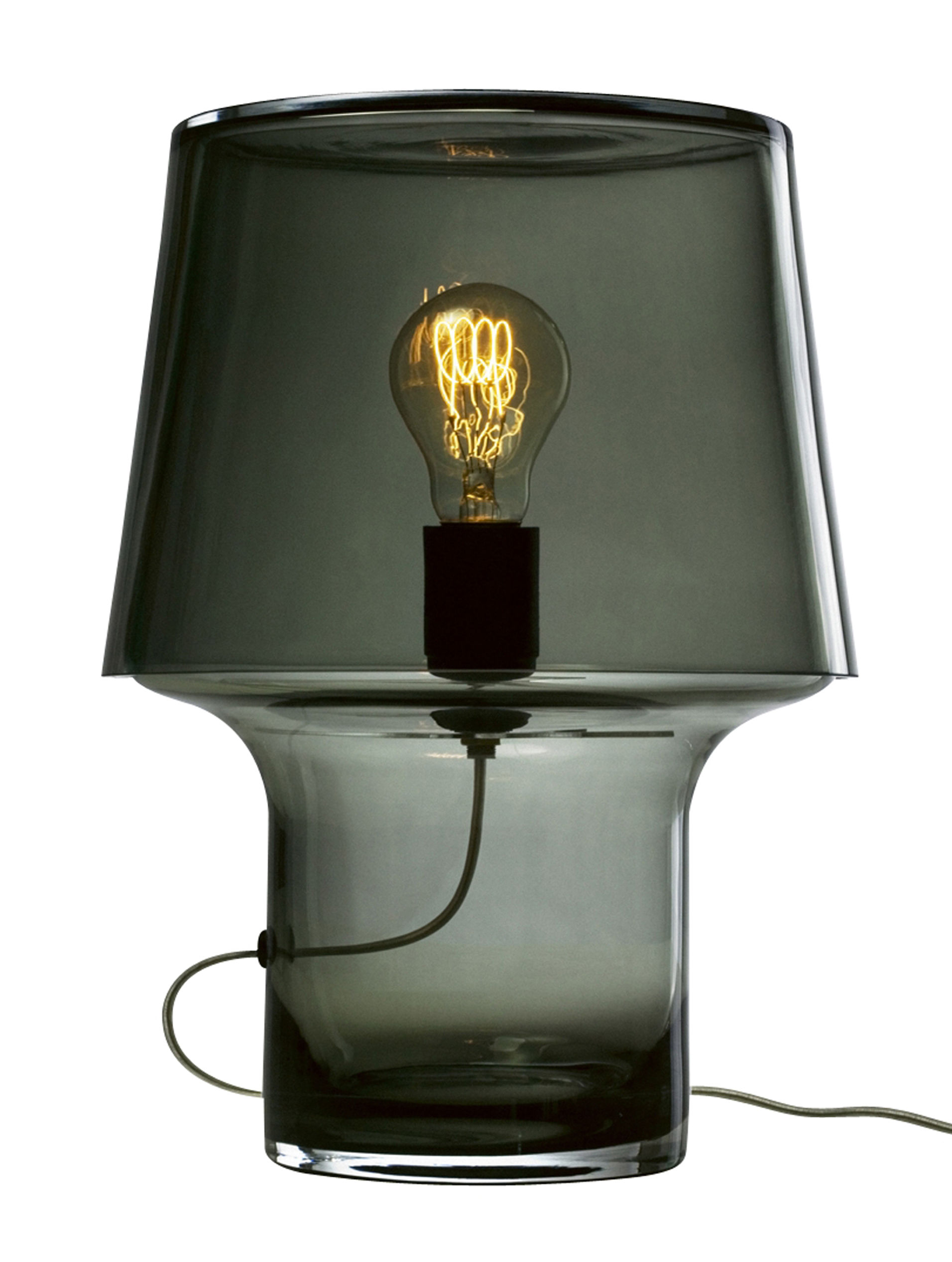 Leuchten - Tischleuchten - Cosy in Grey Tischleuchte / aus Glas - H 32 cm - Muuto - Grau-transparent - Glas, PVC