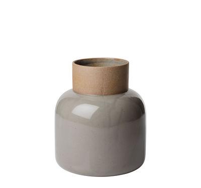 Decoration - Vases - Earthenware Jar Vase - H 21 cm - High burned Japanese earthenware by Fritz Hansen - Moss grey / Beige - Earthenware, Enamelled earthenware