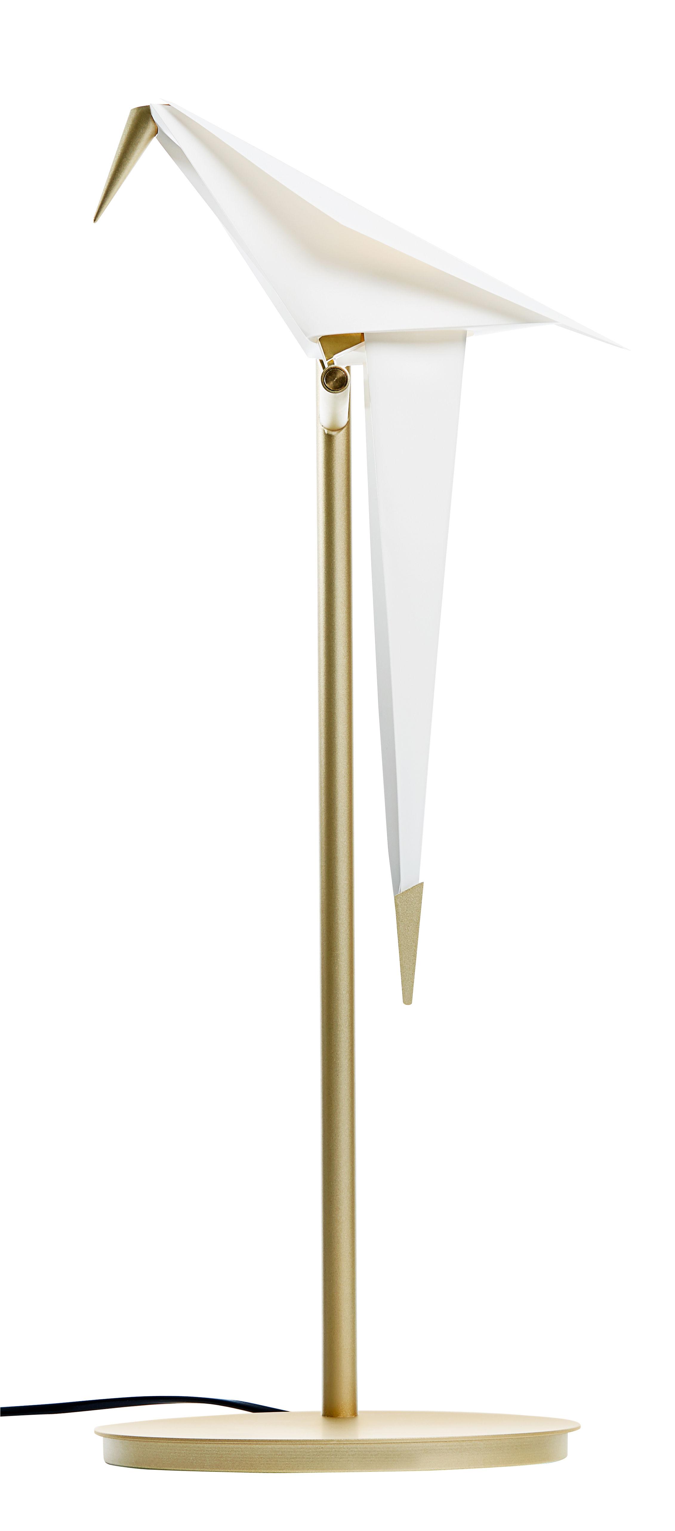 Leuchten - Tischleuchten - Perch Light LED Bodenleuchte / beweglicher Vogel - H 61 cm - Moooi - Weiß & Messing - Aluminium, Polypropylen, Stahl