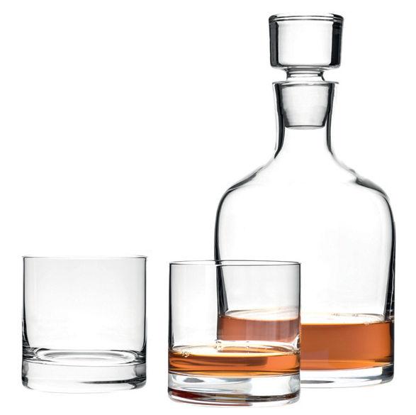 Arts de la table - Carafes et décanteurs - Carafe à whisky / Set carafe + 2 verres - Leonardo - Transparent - Verre