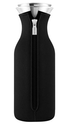 Tableware - Water Carafes & Wine Decanters - Stoppe-goutte Carafe - 1 L / Technical fabric cover by Eva Solo - Black - Glass, Stainless steel, Technical fabric