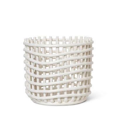Interni - Cestini e Centrotavola  - Cesto Ceramic Large - / Ø 23,5 x H 21 cm - Fatto a mano di Ferm Living - Bianco sporco - Ceramica