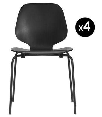 Mobilier - Chaises, fauteuils de salle à manger - Chaise empilable My Chair / Lot de 4 - Normann Copenhagen - Noir / Pieds noirs - Acier laqué, Placage de frêne